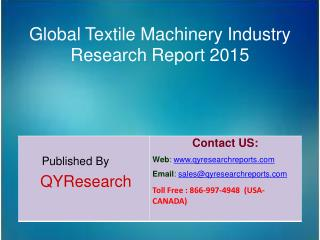 Global Textile Machinery Market 2015 Industry Analysis, Shares, Insights, Study, Forecasts, Applications, Development, G
