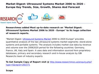 Market Digest: Ultrasound Systems Market 2006 to 2020 - Europe
