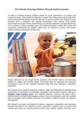 KLA Schools Nurturing Children Through Quality Learning