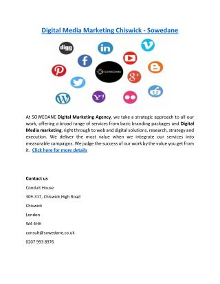 Digital Media Marketing Chiswick - Sowedane