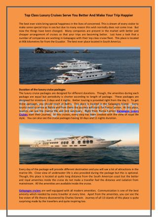 Top Class Luxury Cruises Serve You Better And Make Your Trip Happier