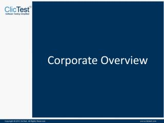 ClicTest Corporate Overview
