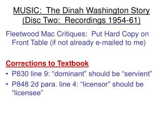 MUSIC:  The Dinah Washington Story Disc Two:  Recordings 1954-61