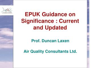 EPUK Guidance on Significance : Current and Updated