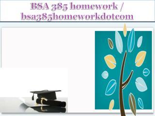 BSA 385 homework / bsa385homeworkdotcom