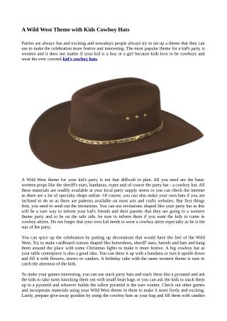 A Wild West Theme with Kids Cowboy Hats