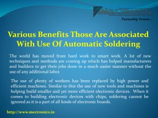 Various Benefits Those Are Associated With Use Of Automatic Soldering