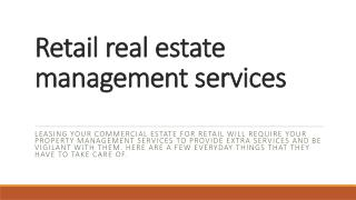 Retail Real Estate Management Services
