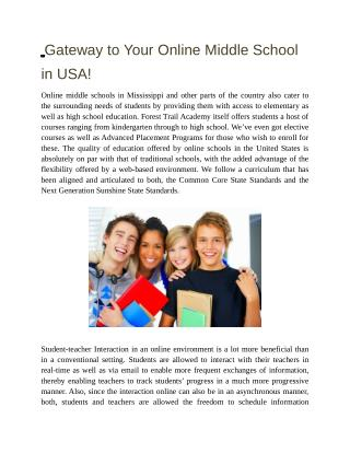 Gateway to your Online Middle School in USA