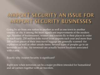 Airport Security an issue For Airport Security Businesses