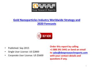 Gold Nanoparticles Industry Statistics and Opportunities Report 2015