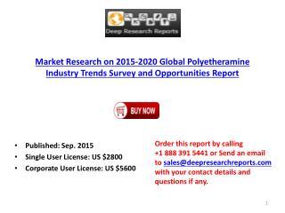 Global Polyetheramine Industry Market Growth Analysis and 2020 Forecast