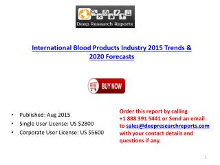 Blood Products Industry Statistics and Opportunities Report 2015