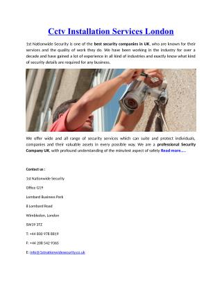 Cctv Installation Services London