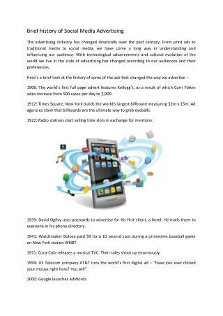 Brief history of Social Media Advertising