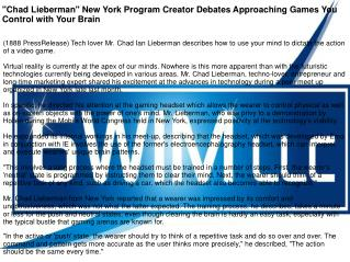 """Chad Lieberman"" New York Program Creator Debates Approaching Games You Control with Your Brain"