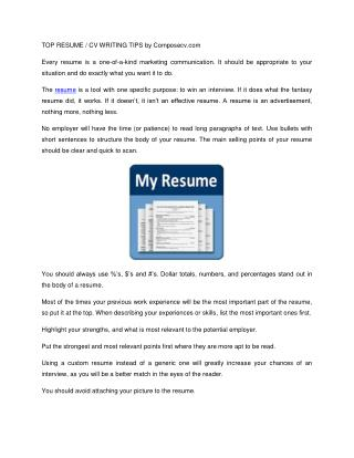 Top Recume / CV Writing Tips - Model Resumes Free Download @ Composecv.com