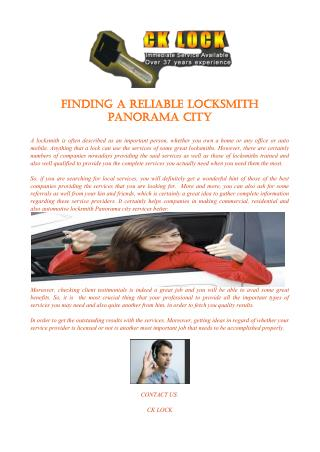 Finding A Reliable Locksmith Panorama City