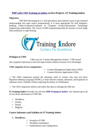 PHP with CMS training in Indore on live projects- IT Training Indore