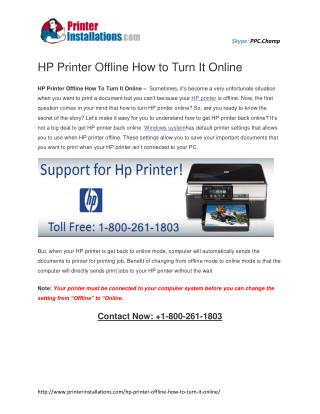 HP Printer Offline How To Turn It Online