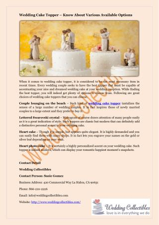Wedding Cake Topper – Know About Various Available Options