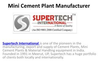 Mini Cement Plant Manufacturer