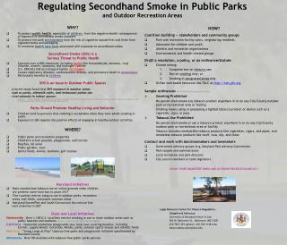 Regulating Secondhand Smoke in Public Parks  and Outdoor Recreation Areas