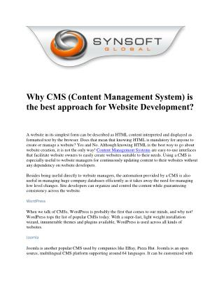 Why CMS (Content Management System) is the best approach for Website Development?
