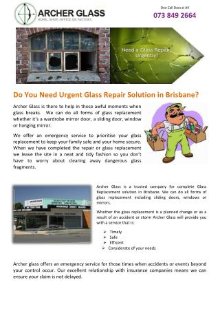 Do You Need Urgent Glass Repair Solution in Brisbane?
