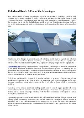 Colorbond Roofs: A Few of the Advantages
