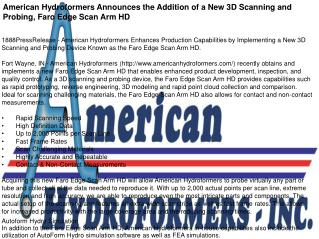 American Hydroformers Announces the Addition of a New 3D Scanning and Probing, Faro Edge Scan Arm HD