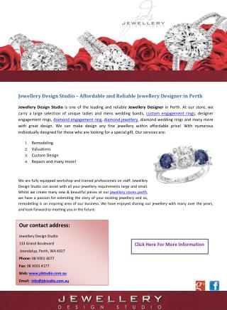 Jewellery Design Studio – Affordable and Reliable Jewellery Designer in Perth