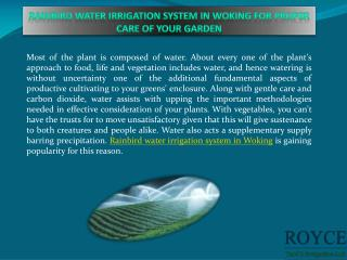 Rainbird water irrigation system in Woking for proper care of your garden