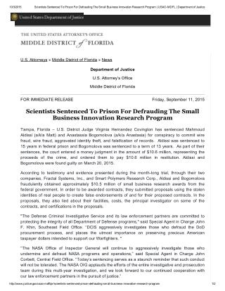 Blog 115  Scientists Sentenced To Prison For Defrauding The Small   Business Innovation Research Program _ USAO-MDFL _ D