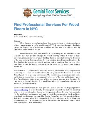 Find Professional Services For Wood Floors in NYC