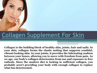 Collagen Supplement For Skin.