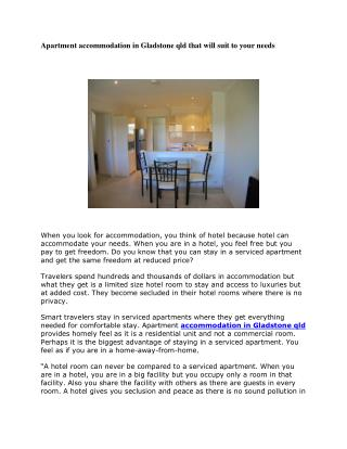 Apartment accommodation in Gladstone qld that will suit to your needs