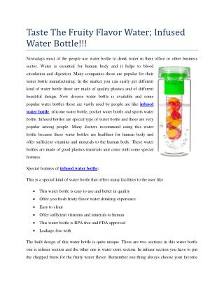 Taste The Fruity Flavor Water; Infused Water Bottle!!!