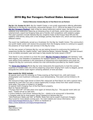2016 Big Sur Foragers Festival Dates Announced