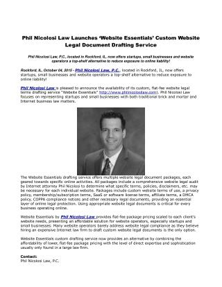 Phil Nicolosi Law Launches 'Website Essentials' Custom Website Legal Document Drafting Service
