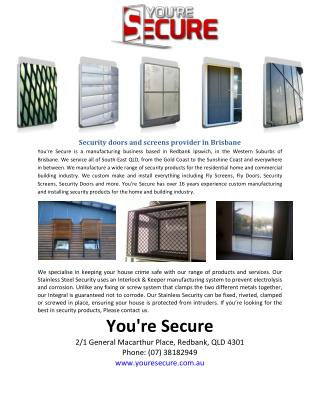 Security doors and screens provider in Brisbane