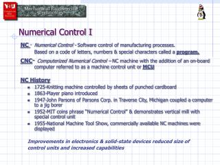 Numerical Control I