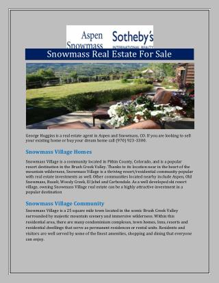 Snowmass Real Estate For Sale
