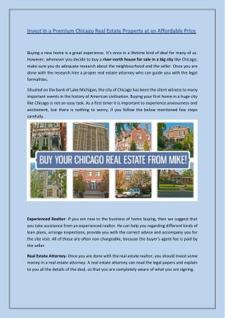 Invest In a Premium Chicago Real Estate Property at an Affordable Price