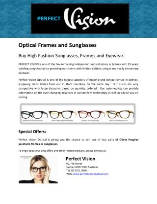 Buy High Fashion Sunglasses, Frames and Eyewear