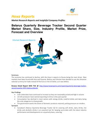2)Quarterly Beverage Tracker Second Belarus  Market Size, Share, trends and Forecast  2014 – 2022