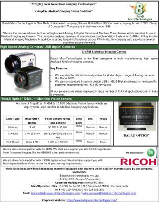 BALAJI MICROTECHNOLOGIES- CCD CAMERA FOR C-ARM