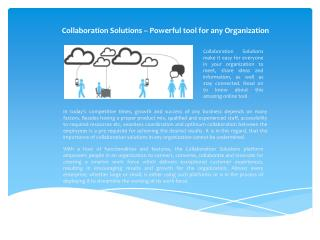 Collaboration Solutions, Powerful tool for any organization