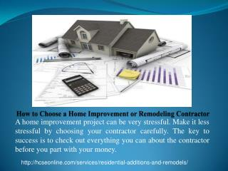 How to Choose a Home Improvement & Remodeling Contractor