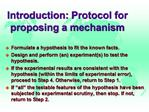 Introduction: Protocol for proposing a mechanism
